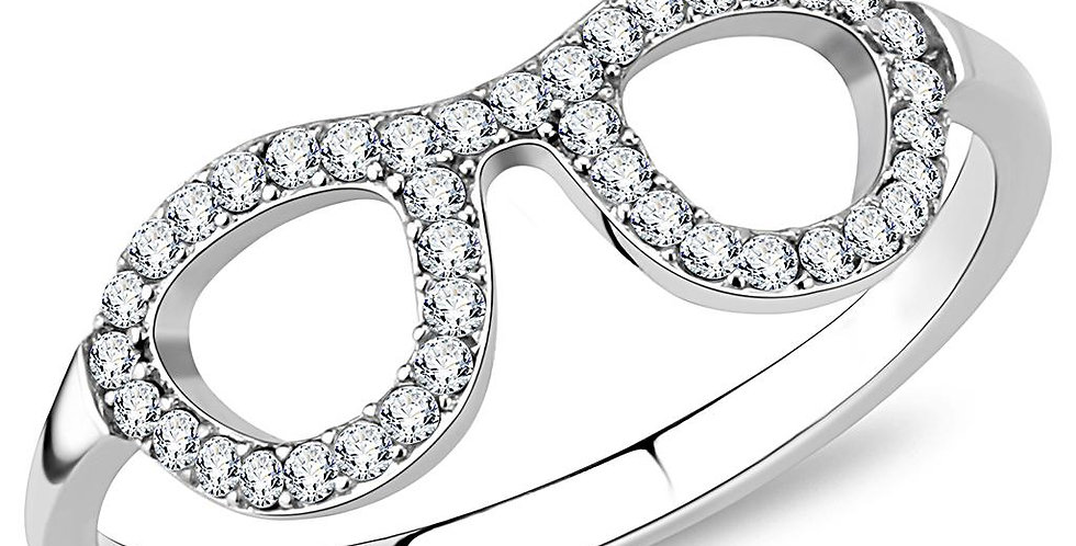 DA055 High Polished (No Plating) Stainless Steel Ring With AAA Grade CZ in Clear