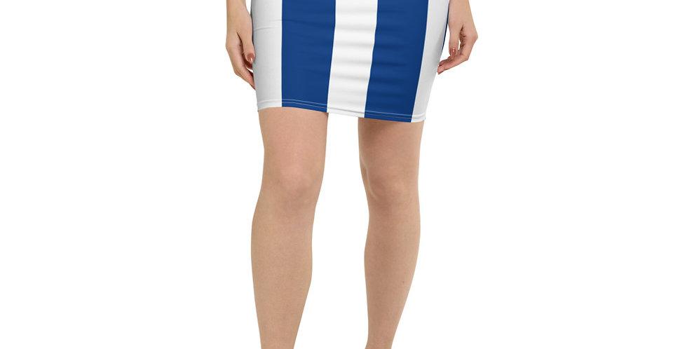 Blue & White Pencil Skirt