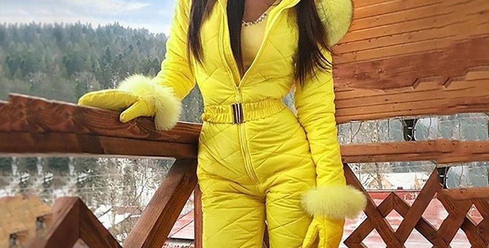 Winter Fur Hooded Jumpsuits Parka