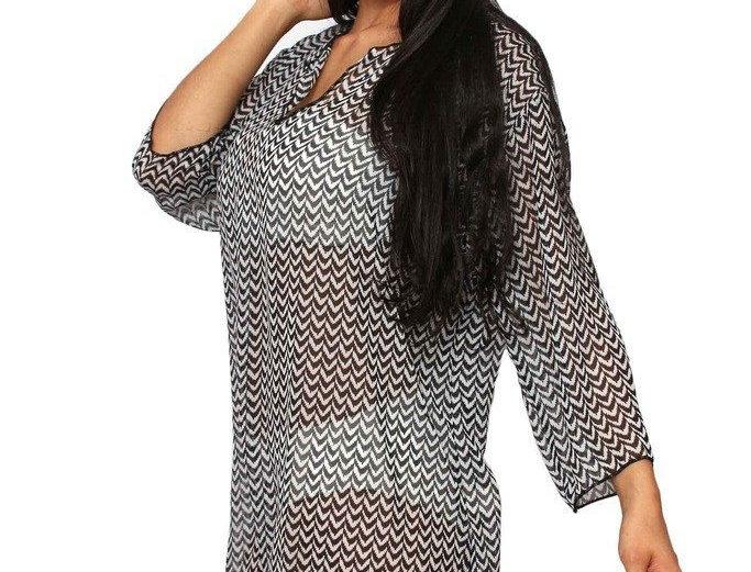 Plus Size Beach Dress Chiffon Long Sleeve Swimwear Cover-Up Made in the USA