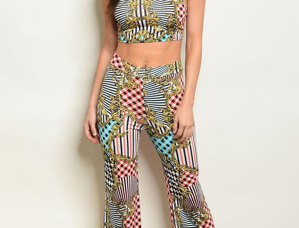 Womens Print Top & Pants Set
