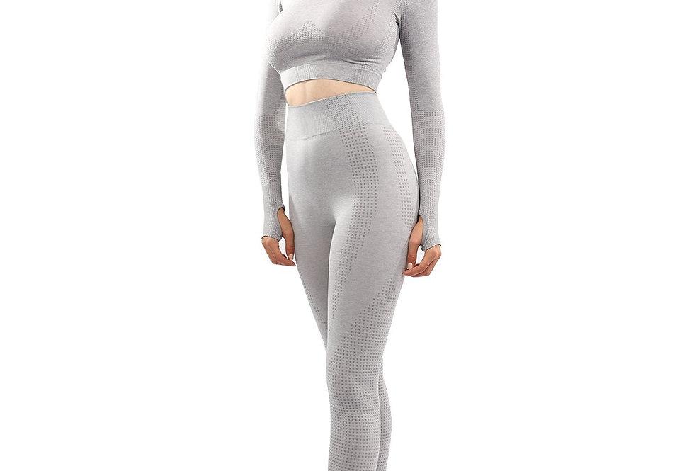 Fratessa Seamless Leggings & Sports Top Set - Grey