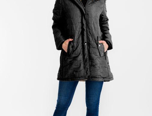 Heather Long Puffy Jacket Black