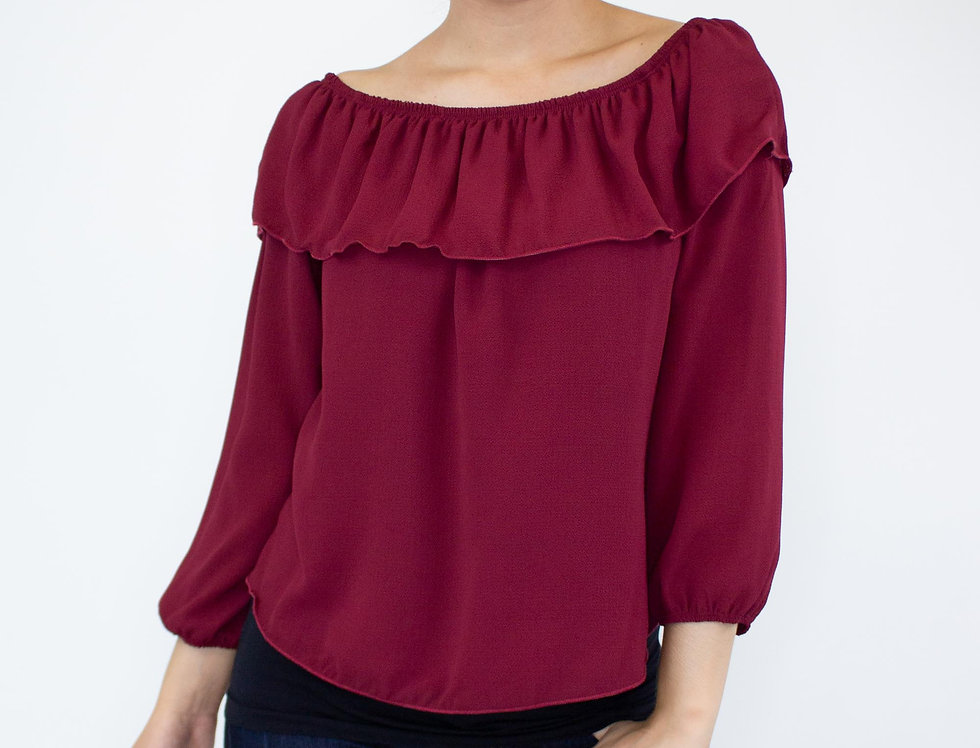 Balloon Sleeve Ruffled Top-Burgundy