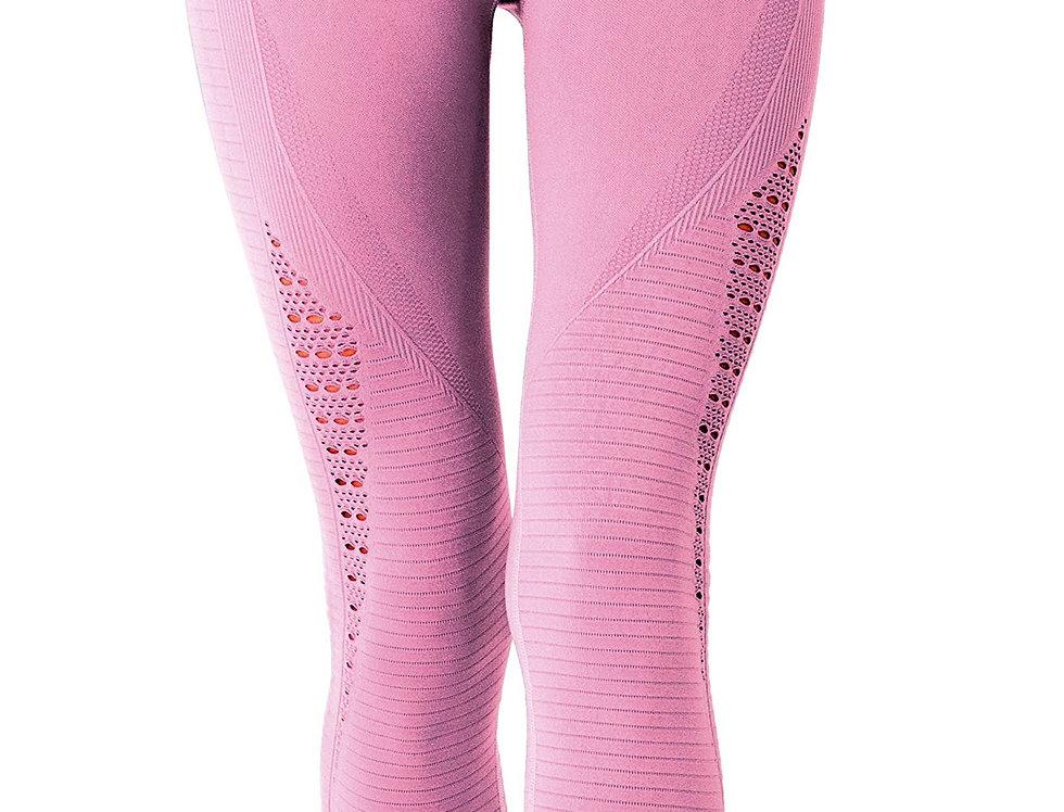 Mesh Seamless Legging With Ribbing Detail - Pink