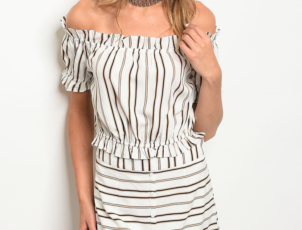 Womens Stripes Top & Skirt Set