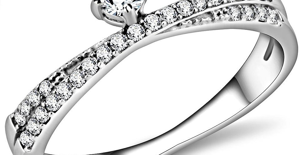 DA153 High Polished (No Plating) Stainless Steel Ring With AAA Grade CZ in Clear