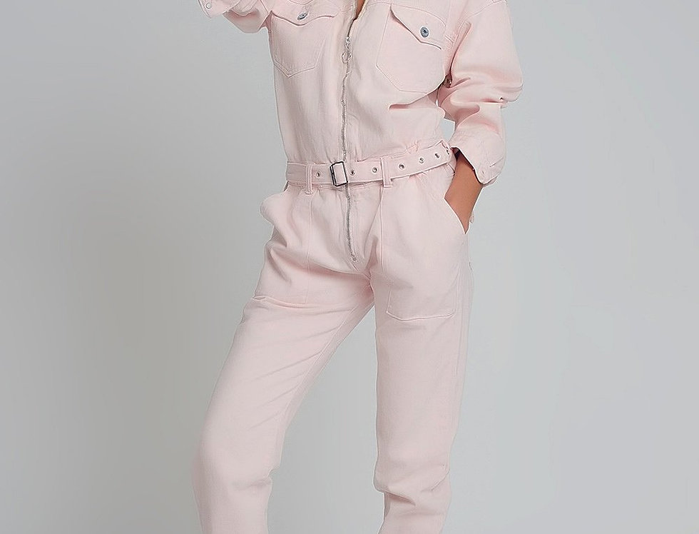 Belted Denim Boilersuit in Pink