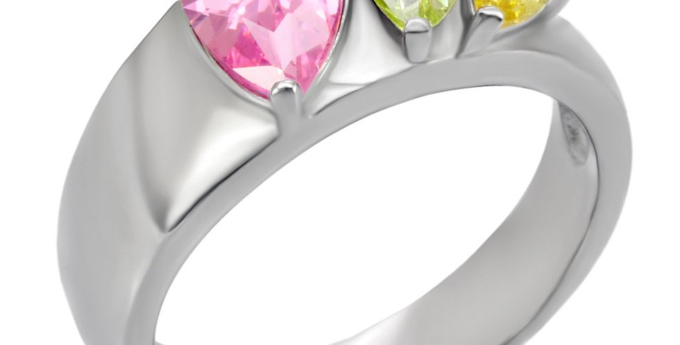 Stainless Steel Ring With AAA Grade CZ in Multi Color