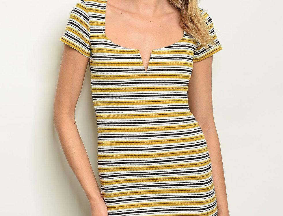 Womens Mustard Black Stripes Dress