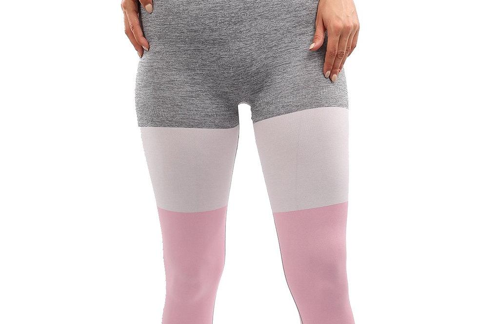 Graca Seamless Leggings - Grey With Pink & White