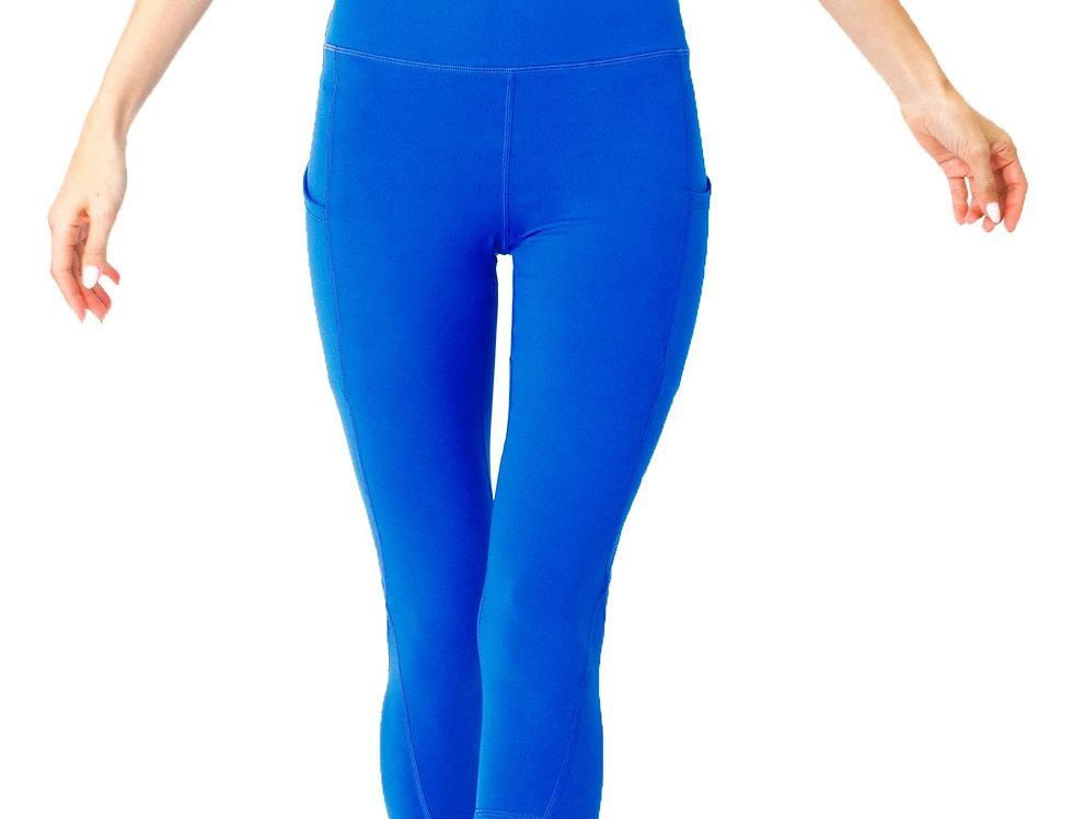 High Waisted Yoga Capri Leggings - Sky Blue