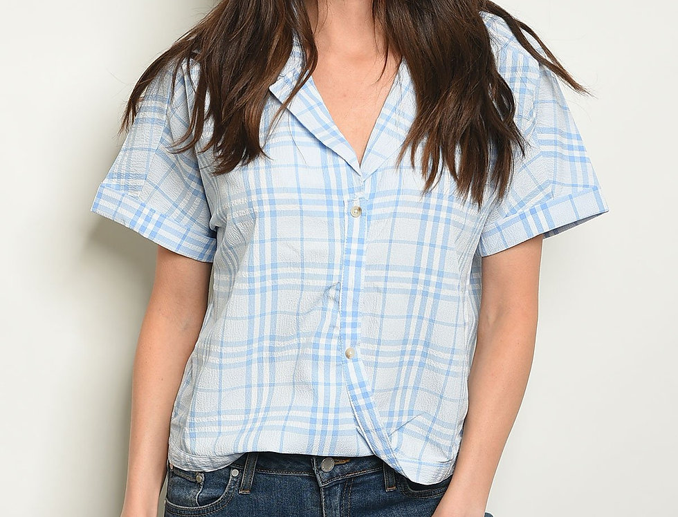 Blue Checkers Top