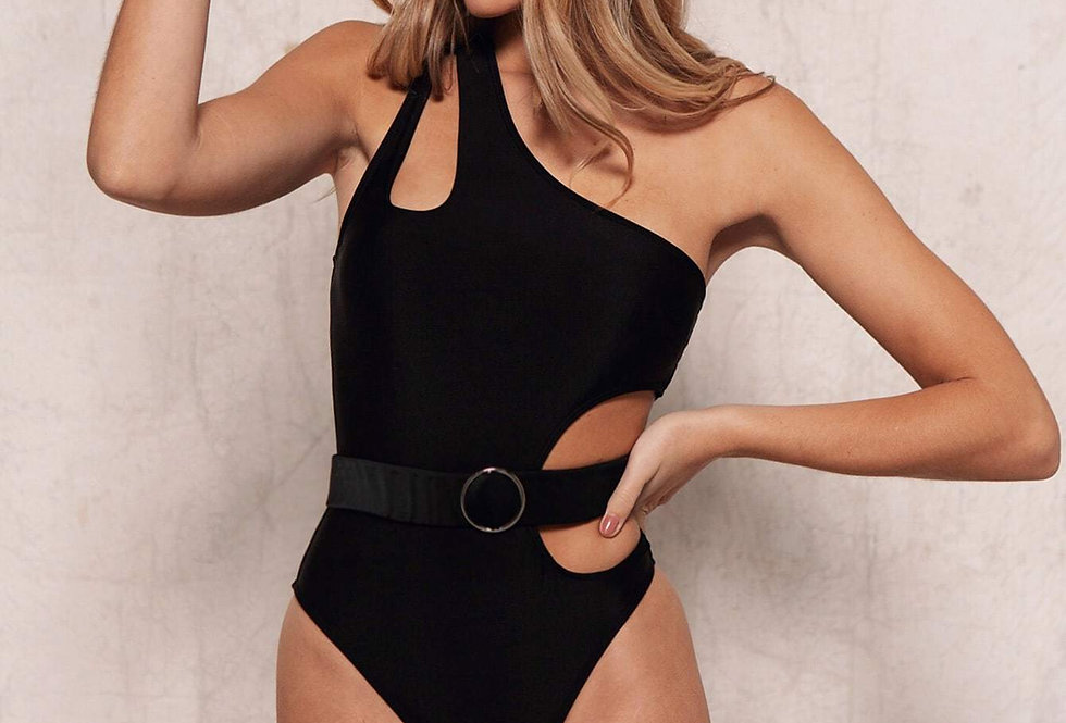 Cut-Out One Shoulder Belted One Piece Swimsuit