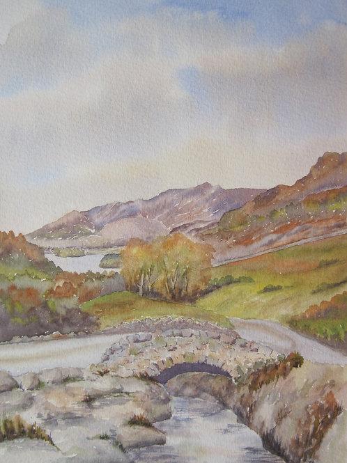 'Ashness Bridge, Nr. Derwent Water' 20x28cm Watercolour Framed