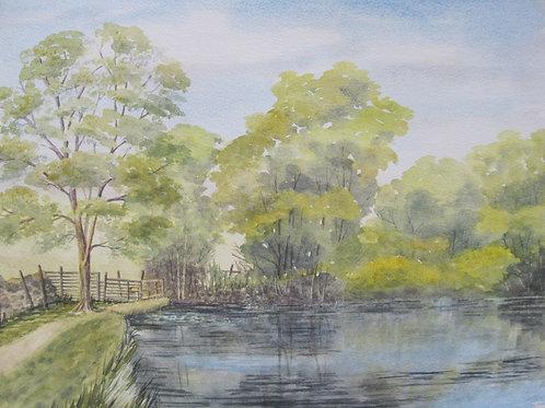'Moss Eccles Tarn' 38x28 Watercolour Framed