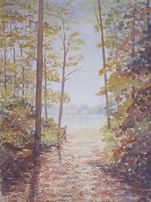 'Autumn Walk' 35x25cm Watercolour Framed