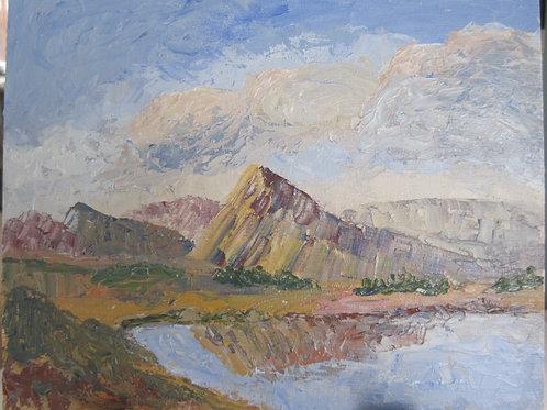 'Croagh Patrick, Co. Mayo' 26x20cm Oil Framed