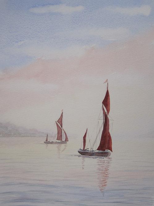 'An Early Start' 26x36cm Watercolour Framed