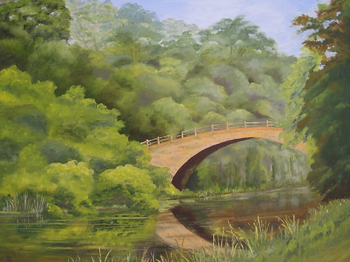 'The Lost Bridge' 50x40cm Oil Framed