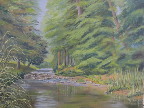 'River Sid, Devon' 50x40cm Oil Framed