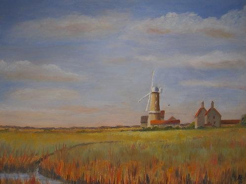 'Cley Windmill, Norfolk' 46x36cm Oil Framed
