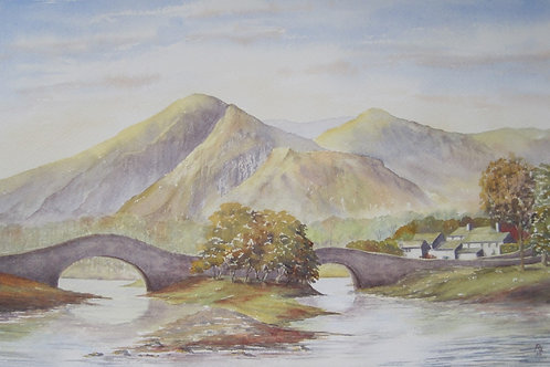 'Grange in Barrowdale' 49x30cm Watercolour Framed