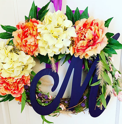 Yellow, Orange and Purple Spring/Summer Wreath