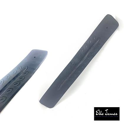 Carved Wood Incense Holder (Black)