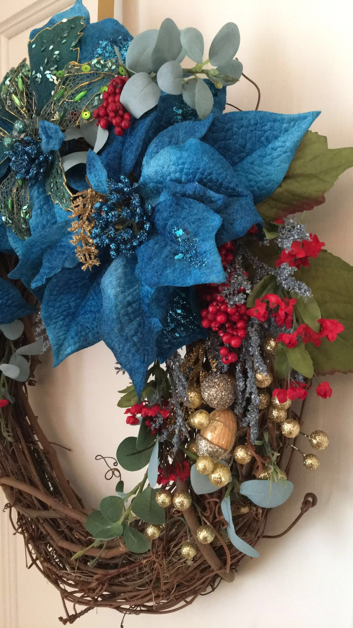 Blue Poinsettia Holiday Wreath