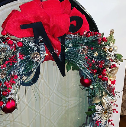 Red and White XL Winter Wreath with Small Wooden Letter