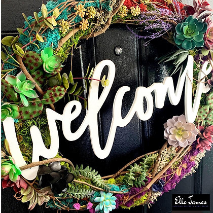 Modern Succulent Welcome Wreath