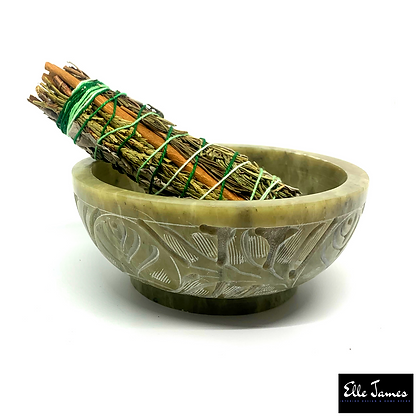 Natural Stone Carved Bowl - Green