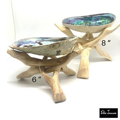 "Natural Wood Carved Shell Holder 6"" or 8"""