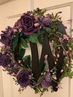 Purple Rose wreath with pink willows