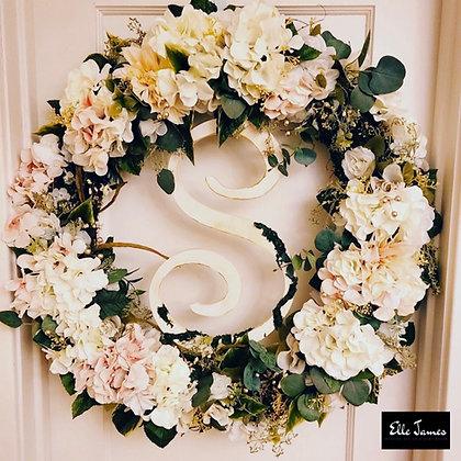 XL Hydrangea, rose and eucalyptus wreath with moss letter