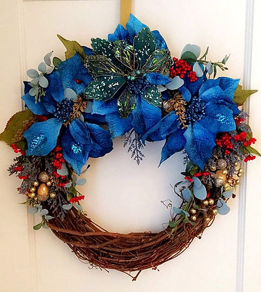 Elle James Blue Holiday Christmas wreath