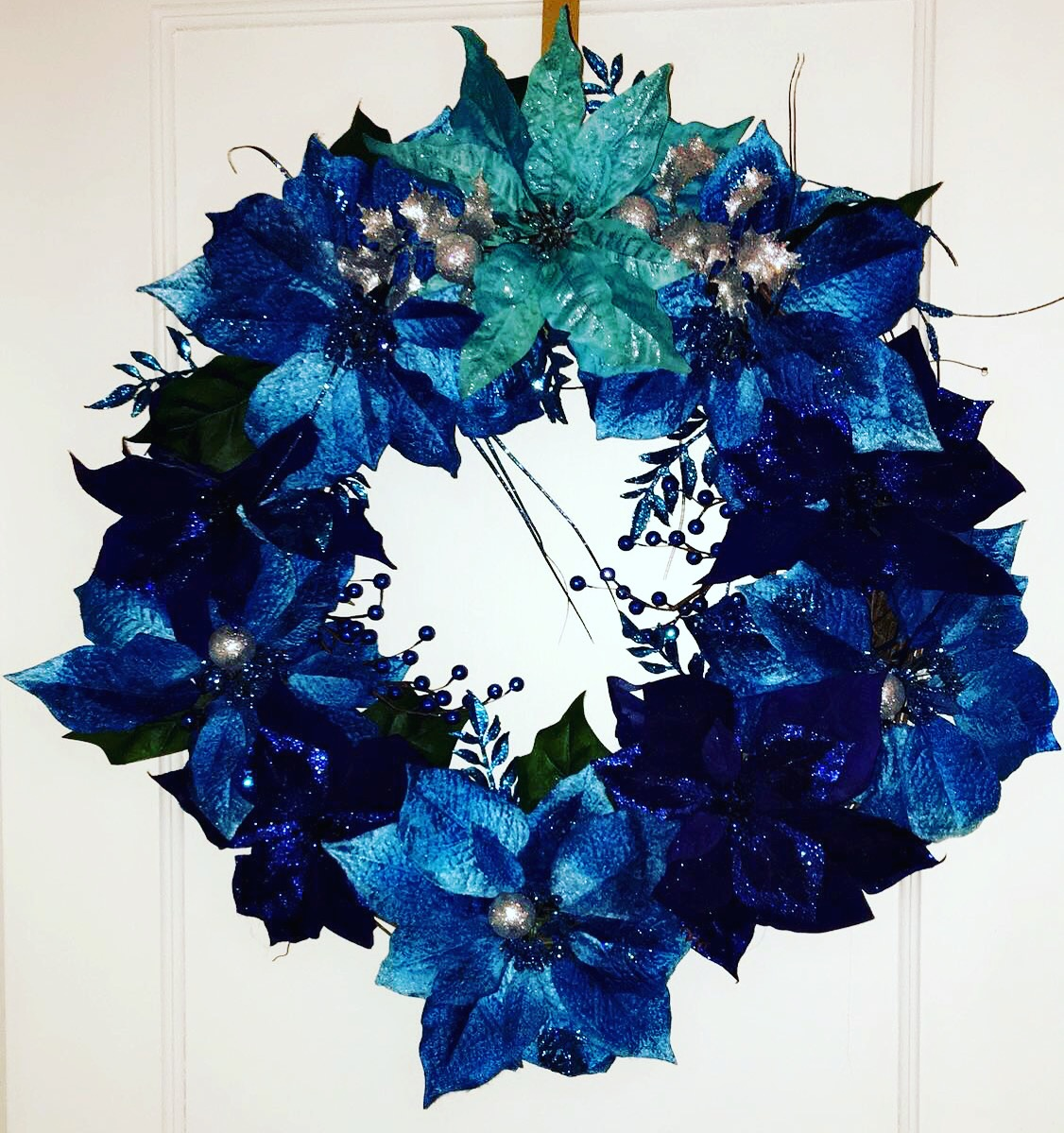 All Blue Custom Poinsettia Wreath