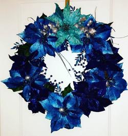 All Blue Custom Poinsettia Wreath