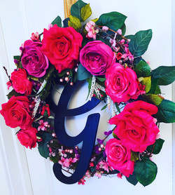 Pink and Magenta Rose Wreath with Initia