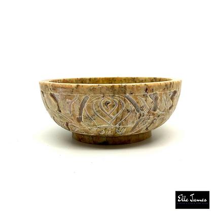 Natural Stone Carved Bowl - Beige