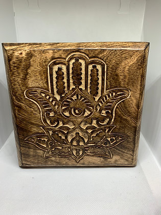 Lotus Hamsa Hand Carved Wooden Box
