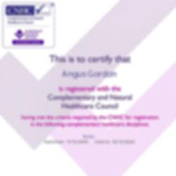 Angus Gordon CNHC registered