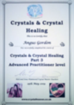 Crystal Certificate, Angus Gordon, Bristol Crystal Reiki