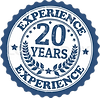 blue 20 years experience badge