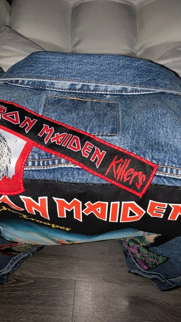 customer's vest with an Iron Maiden patch he got from us