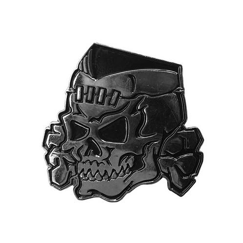 Psycho Stitched Skull Chrome Enamel Pin