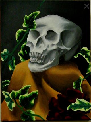 Skull and Bones, Acrylics 12x16 in