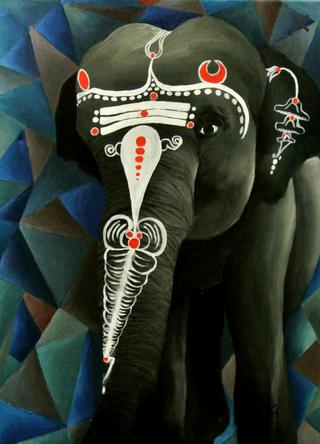 Tribal Elephant, Oils 18x24 in