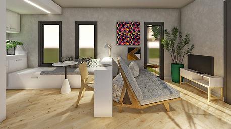 Concurso Agisa-Todeschini: Imagem da sala de estar e cozinha integradas. As cores claras ampliam o espaço. Mobiliários assinados por designers brasileiros foram utilizados.